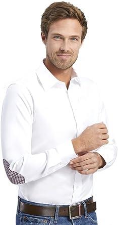 ALLBOW Camisas Formales para Hombre, Blanca, Slim Fit con Parches en los Codos, 100% algodón, M 39/40: Amazon.es: Ropa y accesorios