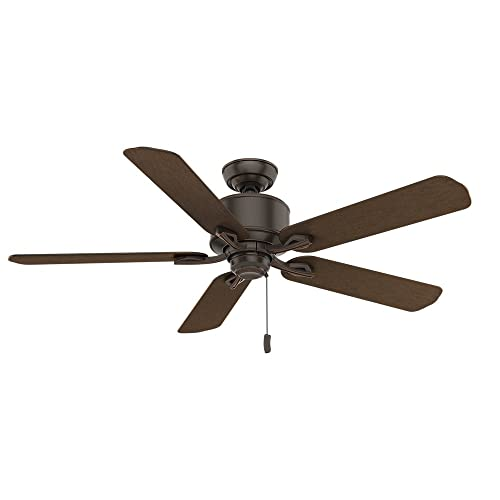 Casablanca Indoor Outdoor Ceiling Fan, with pull chain control – Compass Point 54 inch, Onyx Bengal, 54192