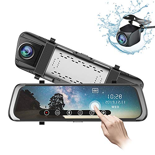 Mirror Dash Cam 10 inch 1080P Full Touch Screen Stream Media Front Rear Dual Lens Dashboard Recorder Waterproof Reversing Camera