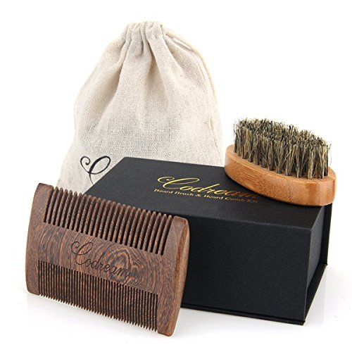 Father's Day Gift Codream Beard Brush  Beard Comb Kit – Natural Boar Bristles Bamboo Beard Brush and Thick  Fine Teeth Handmade Sandal Wood Comb Per…