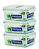 Glasslock Food-Storage Container with Locking Lids Microwave Safe 6pcs Set Rectangular 37oz/1100ml