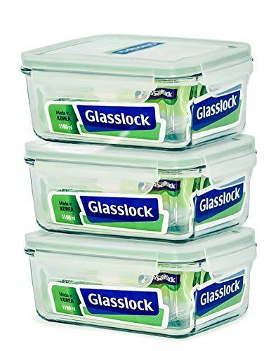 - Glasslock Food-Storage Container with Locking Lids Microwave Safe 6pcs Set Rectangular 37oz/1100ml