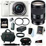 Sony Alpha a6000 ILCE6000LW ILCE6000L/W Interchangeable Lens Camera with 16-50mm Power Zoom Lens (White) + Sony 18-200mm F3.5-6.3 E-Mount Lens (Black) + Sony 32GB SD Memory Card + Replacement Battery for Sony NP-FW50 + Tiffen UV Filters + Deluxe Accessory Bundle