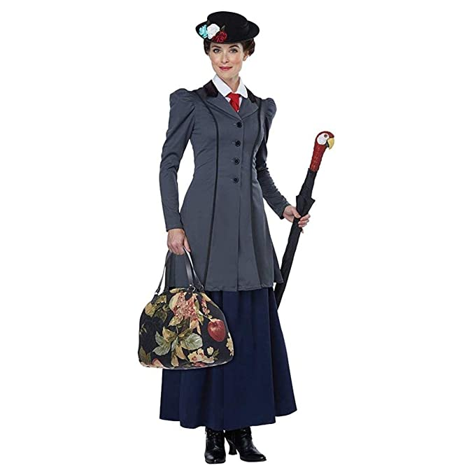 1900s, 1910s, WW1, Titanic Costumes California Costumes Womens English Nanny - Adult Costume Adult Costume Gray/Navy Extra Small $83.38 AT vintagedancer.com