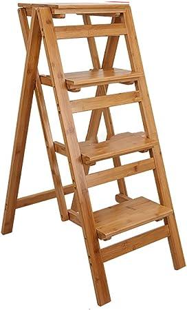 Escalera de tijera de madera maciza, Silla de escalera plegable multifuncional Taburete de 4 escalones, Escalera de escalera transformadora creativa Silla de escalera de doble uso para oficina de co: Amazon.es: Hogar