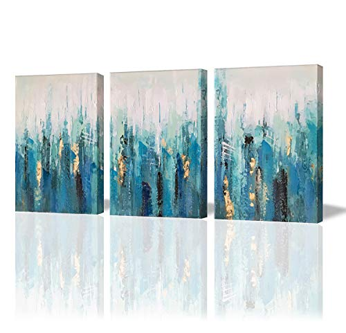 Paimuni Blue Abstract Modern Canvas Print 3 Panel with Embellishment Gold Foil Wall Pictures for Home Decoration, Ready to Hang (3 Panel Painting)