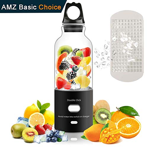 Portable Juicer Blender Cup, Mini USB Recharge Personal Small Juice Fruit Mixer Bottle - Electric Smoothie Mixing Machine with Girls Boys Friends Travel Household and Office by Yago, Black