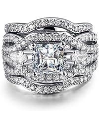 Rhodium Plated Princess Cut Diamond Halo Cubic Zirconia CZ Infinity Wedding Bridal Ring Set