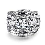 Gange Rhodium Plated Princess Cut Diamond Halo Cubic Zirconia CZ Infinity Wedding Bridal Ring Set (7)