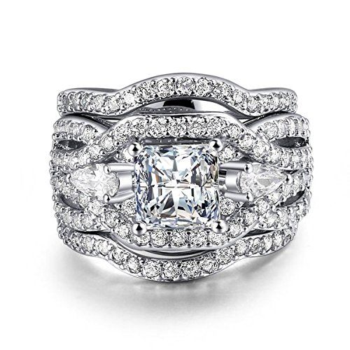 Rhodium Plated Princess Cut Diamond Halo Cubic Zirconia CZ Infinity Wedding Bridal Ring Set (9)