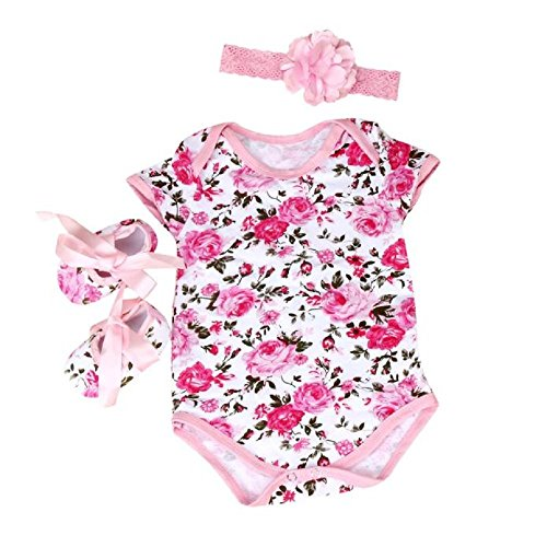 FEITONG® 3pcs Baby Girls Floral Print Romper Bodysuit +Headband+ Shoes Sets Clothes (Age 3-6M, (Clearance Baby)