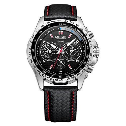 MEGIR Men Wrist Watch Leather Waterproof Analog Quartz Sport Casual Fashion Watch with Big Dial Calendar for Business Office Work School Outdoor
