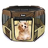 "45"" Pet Playpen for Dogs, Jespet Exercise Pen Kennel Crates with Carry Bag for Cats, Rabbits, Puppy, Brown"
