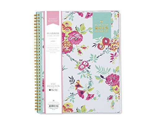 "Day Designer for Blue Sky 2018 Weekly & Monthly Planner, Twin-Wire Binding, 8.5"" x 11"", Peyton White -  Blue Sky Herbal Inc, BLS103618"