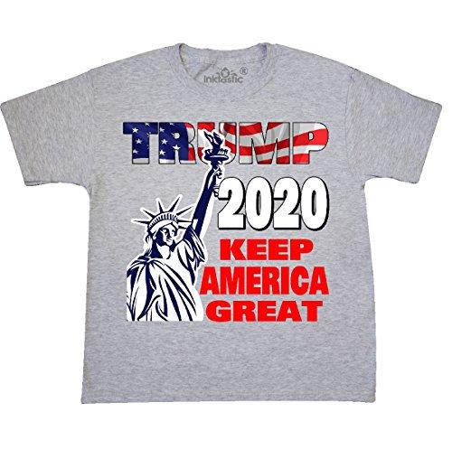 (inktastic - Trump 2020 Keep Youth T-Shirt Youth Large (14-16) Ash Grey 31618)