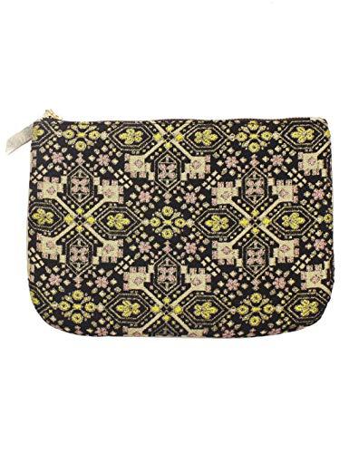 Under Zero Women's Pouch bag Black Geometric Jacquard Cosmetic Bag
