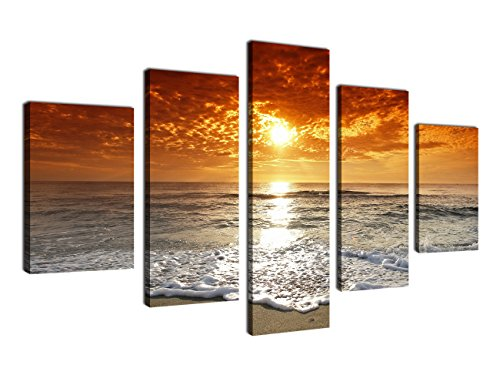 yearainn Large Canvas Wall Art Beach Sunset Nature Pictures - 5 Pieces Ocean Artwork Canvas Art Prints Contemporary Painting for Home Decoration Framed Ready to Hang
