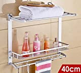 YAOHAOHAO Bathroom shelving bath rooms on a shelf, the space of the aluminum bath rooms, toilet toilet accessories wall a shelf storage shelf rooms, bath towel rail (Size: 40 cm).