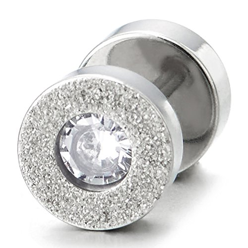 Cheater Fake Ear Plug Gauges Illusion Tunnel Men Women Satin Steel Circle Stud Earrings with 4mm CZ CA