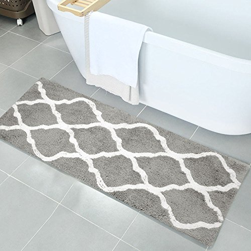 Bath Runner (Pauwer Microfiber Bath Rugs Non Slip Bath Rug Runner Absorbent Bath Mats for Bathroom Machine Washable Bathroom Rugs (18