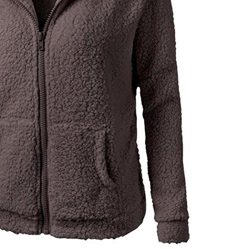 capucha Culater de de cremallera Suéter con caliente Outwear las Chaqueta de mujeres la Café Abrigo algodón Ew1ErPqxt
