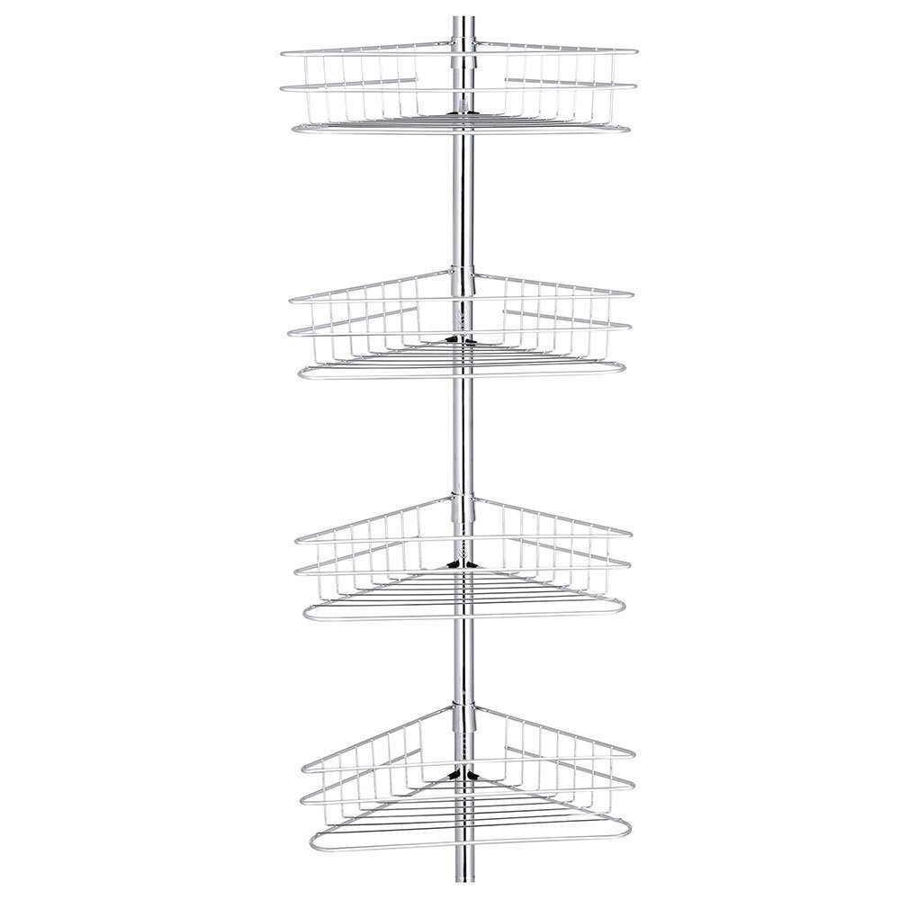 ReaseJoy 4 Tier Metal Bathroom Corner Shower Shelf Caddy Wall Rack Storage Organizer Soap Holder 250-280cm Black Generic