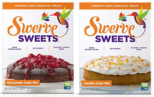 Swerve Sweets, Cake Mix Bundle, Chocolate and Vanilla Cake Mixes (Mix Vanilla Chocolate Cake)