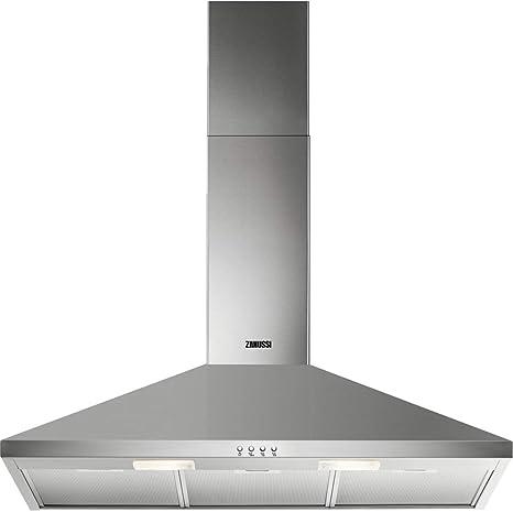 Zanussi ZHC92462XA Campana extractora de pared, 90 cm, 3 velocidades, Acero inoxidable, Potencia hasta de 420 m3/h, Nivel de ruido 66 dB(A), Iluminación LED, Inox, Clase D: Amazon.es: Grandes electrodomésticos