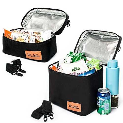 2 Ice Lunch Bag (WinMax Insulated Lunch Box/Portable Cooler Bag with Detachable Shoulder Strap for Adults Waterproof and Durable(2 Sizes Packed))
