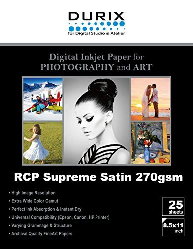 RCP Supreme Satin 270gsm Digital Inkjet Paper for Photography and Art (8.5-x-11/25sheets)