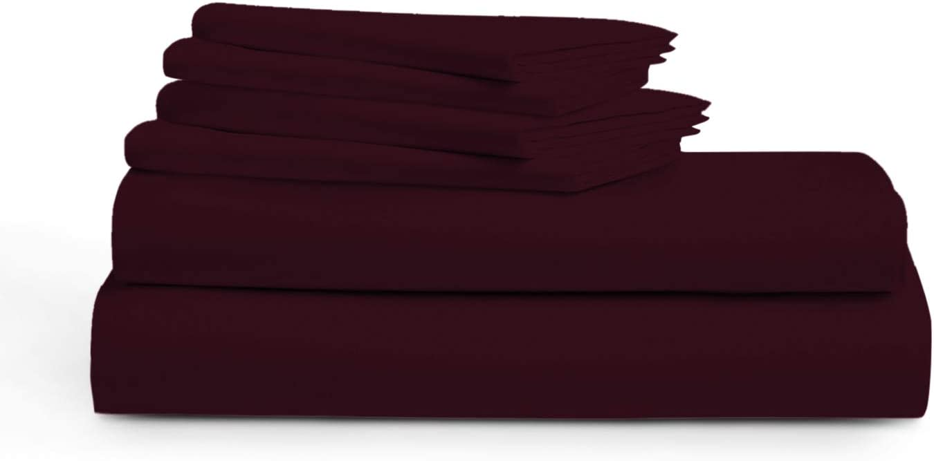 BURGUNDY QUEEN Sheets - 100% Pure Egyptian Cotton 6-Piece 1000-Thread-Count Luxury 5 Star Hotel Collection Bedding Set - Wrinkle Free, Soft & Silky Sateen Weave, Fits Mattress Upto 18'' Deep Pocket