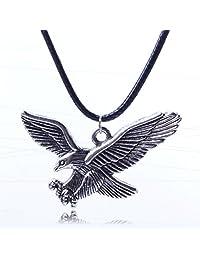 Winson Rock Punk Tibetan Silver Eagle Pendant Long Chain Necklace Women Men