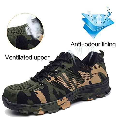 Image of JACKSHIBO Mens Work Safety Shoes, Breathable Outdoor Steel Toe Footwear Industrial Construction Shoes,Hiking Shoes Camouflage Green 45