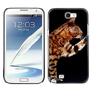 YiPhone /// Prima de resorte delgada de la cubierta del caso de Shell Armor - Ocicat Serengeti Bengal Savannah Cat - Samsung Galaxy Note 2 N7100