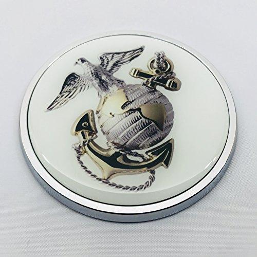 US MARINE 3D Domed Emblem Badge Car Sticker Chrome ROUND Bezel