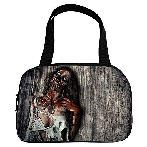 Personalized Customization Small Handbag Pink,Zombie Decor,Angry Dead Woman Sacrifice Fantasy Mystic Night Halloween Image Decorative,Dark Taupe Peach Red,for Girls,Personalized -