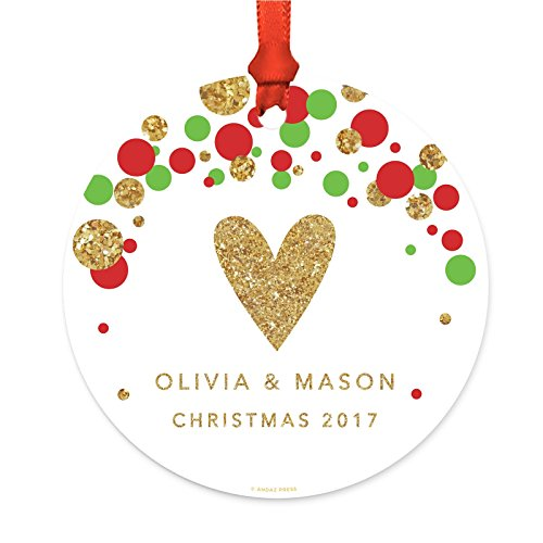 ized Family Christmas Ornament, Metal, Red Green Gold Glittering Heart Olivia & Mason Christmas 2019, 1-Pack, Custom Letter Name, Includes Ribbon and Gift Bag ()
