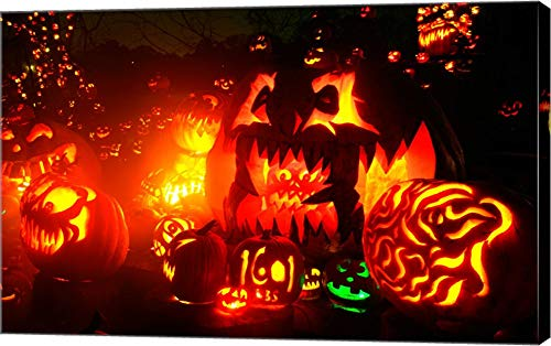 Jack o' Lanterns lit at Roger Williams Park Zoo, Rhode Island, USA Canvas Art Wall Picture, Gallery Wrapped with Image Around Edge, 38 x 24 inches -
