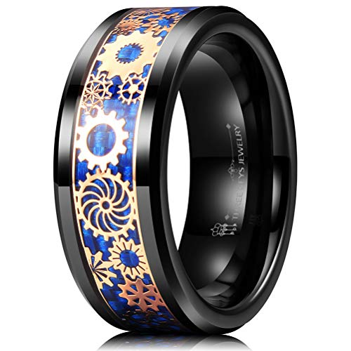 - THREE KEYS JEWELRY 8mm Tungsten Rings Black Punk Seal Gear Mechanical Dark Blue Carbon Fiber Gold Metal Foil Inlay Wedding Bands for Men Size 13.5