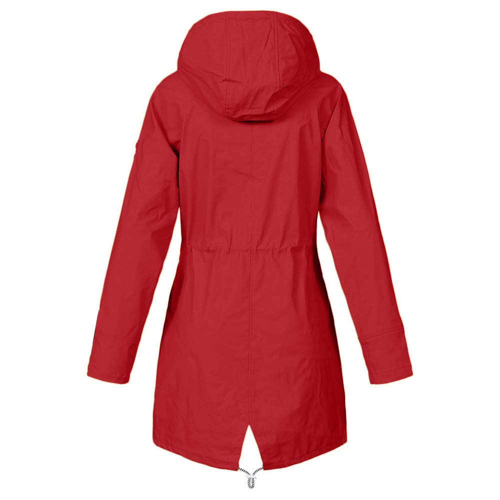 Women/'s Solid Rain Jacket Outdoor Jackets Waterproof Hooded Raincoat Windproof