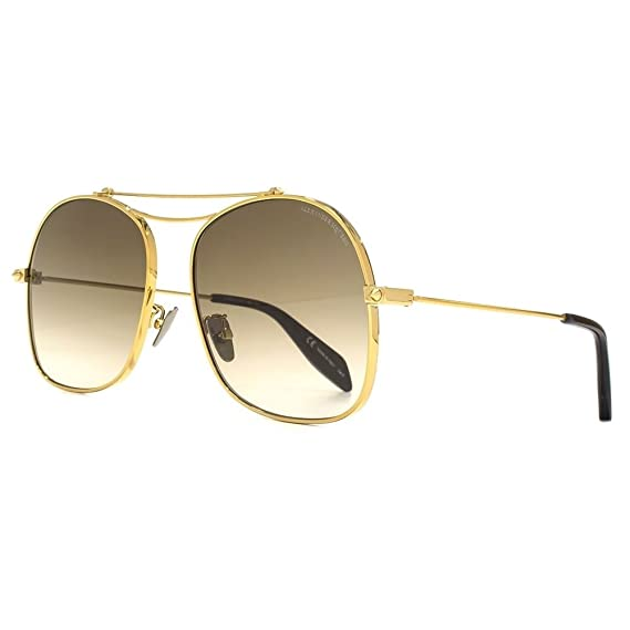 a890acabbb Alexander McQueen Edge Square Aviator Sunglasses In Gold Brown AM0088S 004  59 59 Brown Gradient Gold  Amazon.co.uk  Clothing