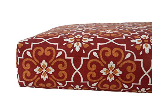 Bossima Indoor/Outdoor Red Damask Deep Seat Chair Cushion