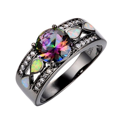 JunXin Women Black Gold Opal Ring Wide Band For Date Multicolor Size5/6/7/8/9/10(9)