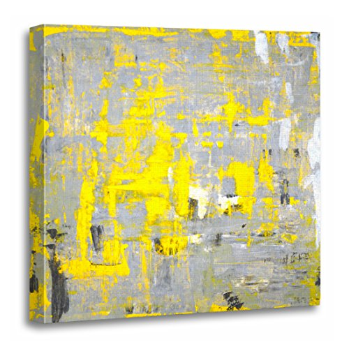 TORASS Canvas Wall Art Print White Grey and Yellow Abstract Charcoal Artwork for Home Decor 20