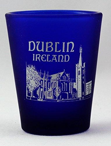Dublin Ireland Cobalt Blue Frosted Shot Glass