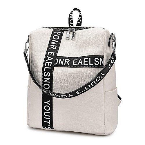 Blanc Daypack de à VogueZone009 Femme PU Randonnée CCAFBP180619 Cuir Escalade Dos Sacs Daypacks xwS7qvf