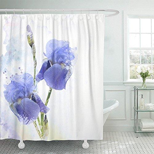 "Emvency 72""x72"" Shower Curtain Waterproof Home Decor Blue Bloom Digital Painting Of Iris Flowers Purple Blossom Bud Flora Floral Petal Picture Print Polyester Fabric Adjustable Hook"