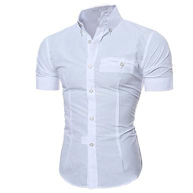 wholesale dealer 97de6 f2f1a Kword Uomo Camicia Maglietta Uomo Camicetta A Maniche Corte con Scollo  T-Shirt Manica Corta con Bottone da Uomo Slim Fit