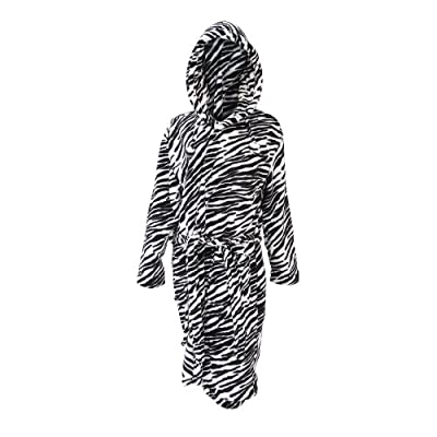 Ladies/Womens Zebra Print Super Soft Hooded Robe Dressing Gown