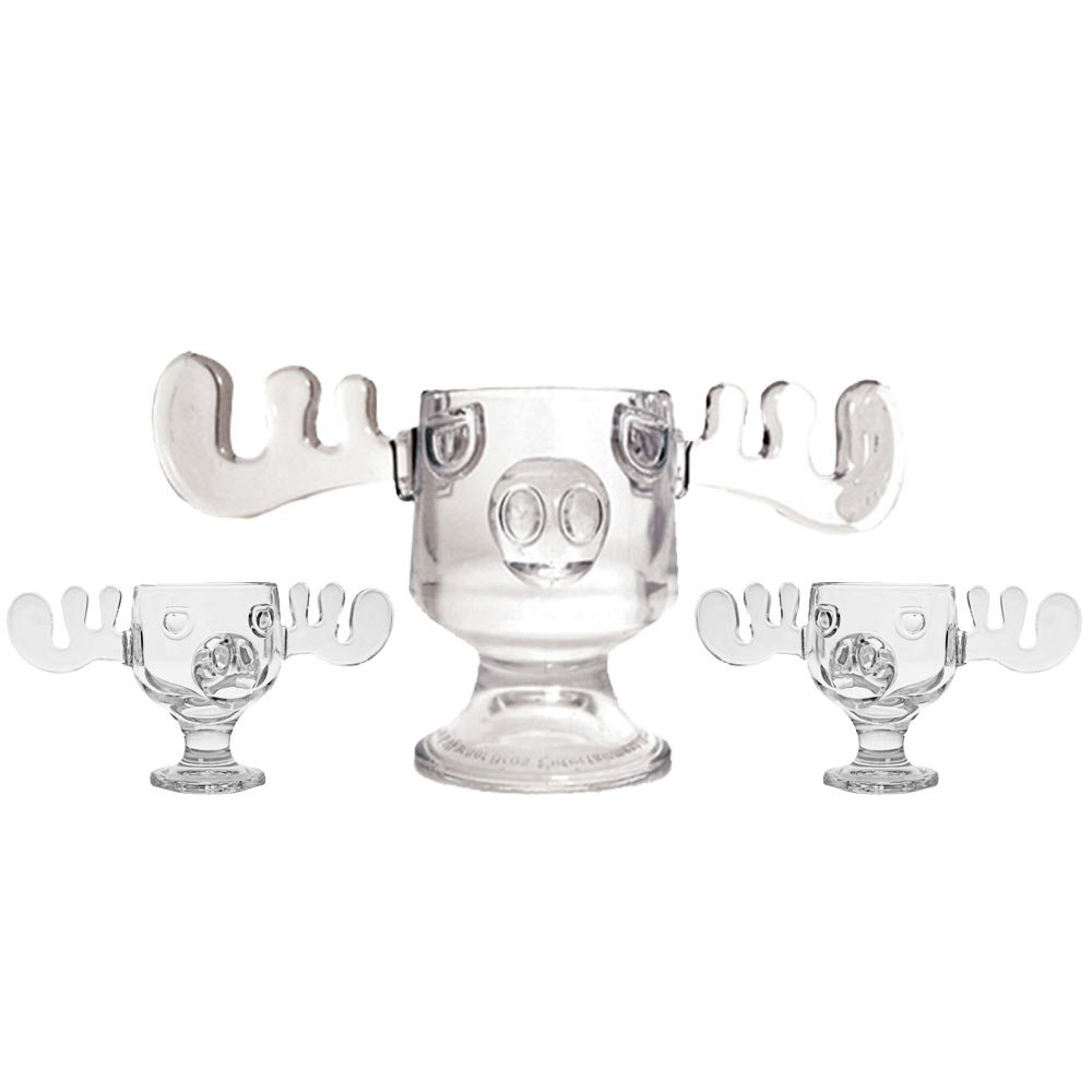 Christmas Vacation Glass Moose Mug Punch Bowl Set w/ Set of 2 Moose Mugs